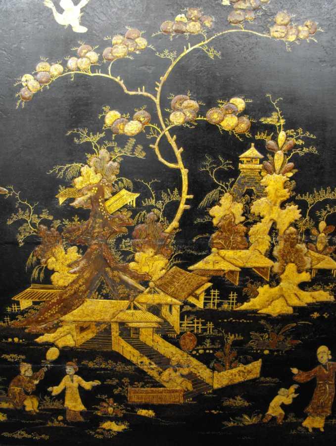 Restored scene on an Eighteenth Century Japanned cabinet