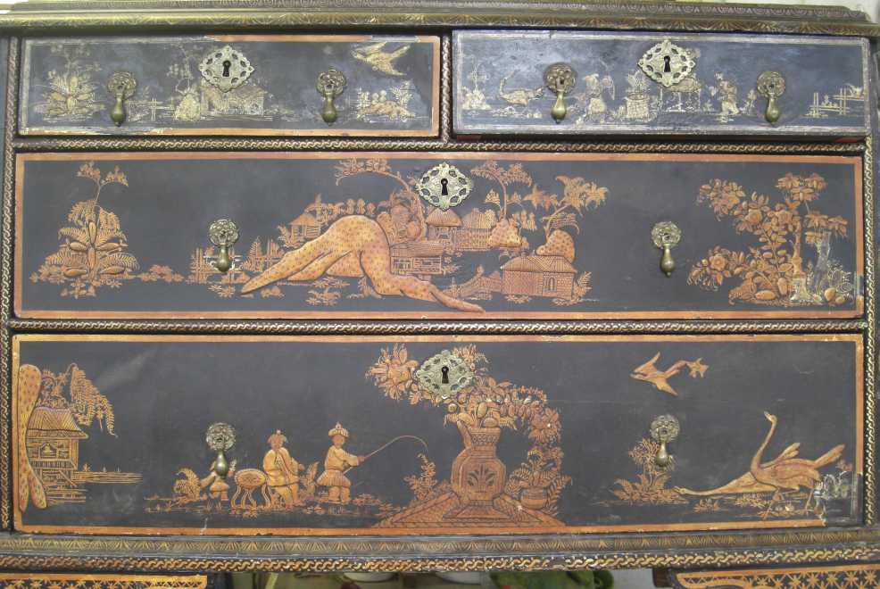 Section of Japanned Eighteenth Century cabinet