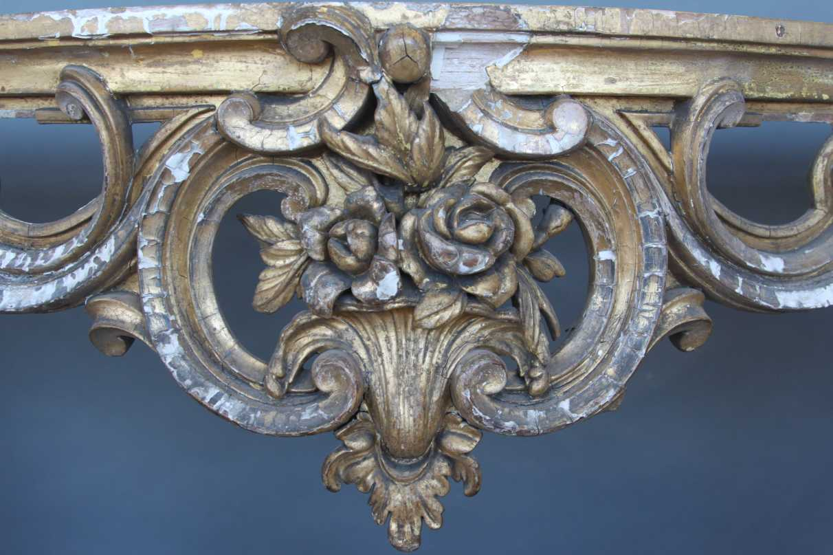 Detail of a console table pre-restoration work