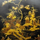 Restored scene on an Eighteenth Century Japanned cabinet