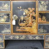 Section of Japanned Eighteenth Century cabinet, part way through the restoration process