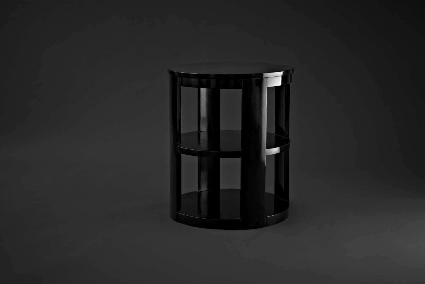 Three tier occasional table in black faux lacquer