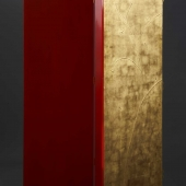 Three fold screen. Finished in gold leaf with a raised Gesso design and a reverse of red faux lacquer